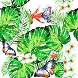 beautiful  flowers ,pattern,palm leaves, watercolor on a white