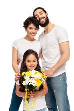 Latin Parents Smiling Near Cut...