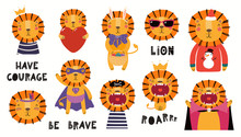 Set Of Cute Lion Illustrations, King, Pirate, Superhero, Easter , Christmas, Halloween. Isolated Objects On White Background. Hand Drawn Vector. Scandinavian Style Flat Design. Concept Children Print.