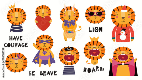 In de dag Illustraties Set of cute lion illustrations, king, pirate, superhero, Easter , Christmas, Halloween. Isolated objects on white background. Hand drawn vector. Scandinavian style flat design. Concept children print.