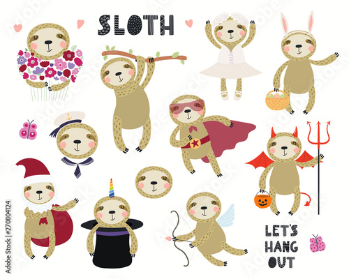 In de dag Illustraties Set of cute sloth illustrations, sailor, superhero, unicorn, Halloween, ballerina. Isolated objects on white background. Hand drawn vector. Scandinavian style flat design. Concept for children print.