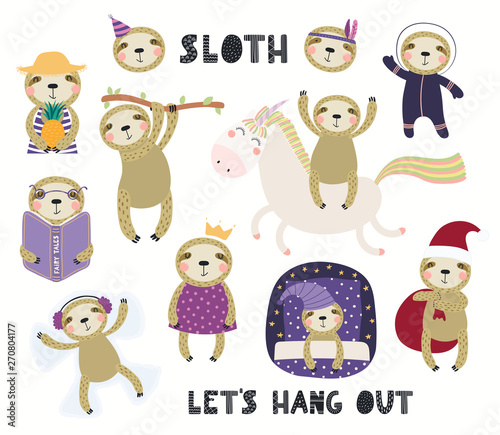 Poster Des Illustrations Set of cute sloth illustrations, astronaut, princess, winter, summer, sleeping. Isolated objects on white background. Hand drawn vector. Scandinavian style flat design. Concept for children print.