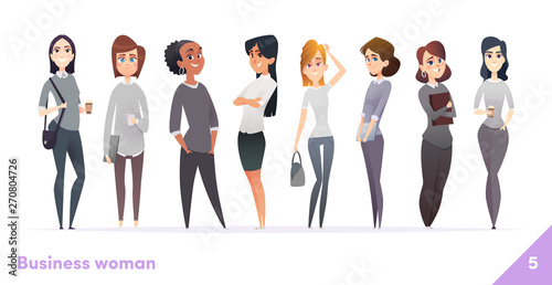 Fototapety, obrazy: Business women character design collection. Modern cartoon flat style. Females stand together. Young professional females poses.
