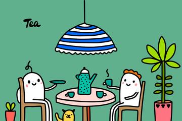 Fototapeta Do herbaciarni Tea time hand drawn vector illustration in cartoon style. Two people drinking together
