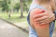 Sport Man Has Shoulder Pain Or...