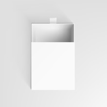 Realistic White Clear Package Cardboard Open Box
