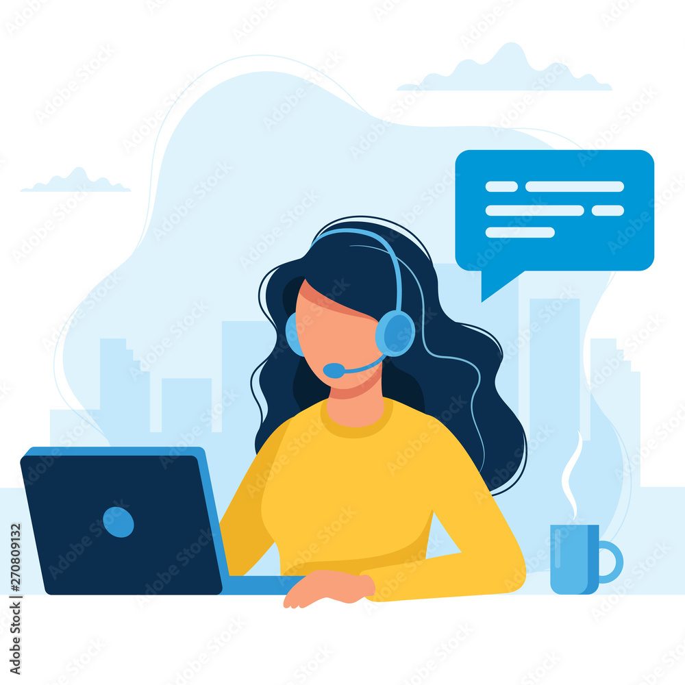 Fototapeta Customer service. Woman with headphones and microphone with laptop. Concept illustration for support, call center.