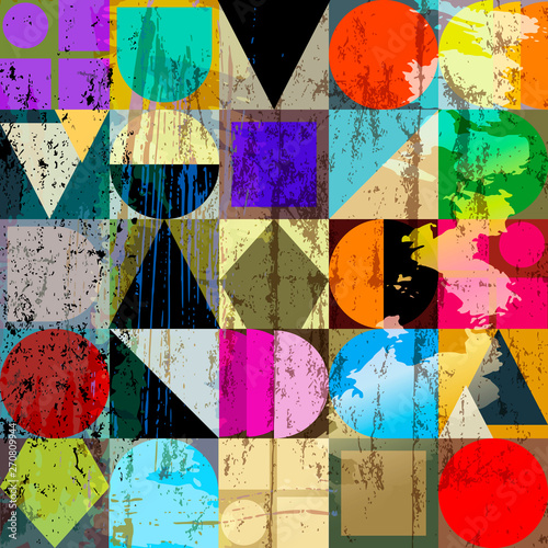 abstract geometric background composition, with strokes, splashes and elements