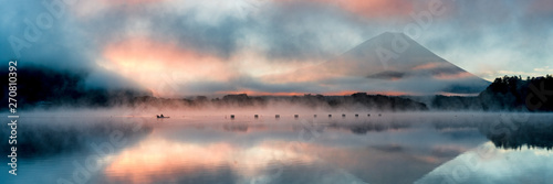 Printed kitchen splashbacks Dark grey Beautiful mystical sunrise at Lake Shōji with Mount Fuji as a backdrop and a row boat in the foreground