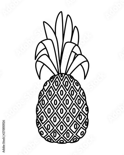 Retro sign summer fresh fruit pineapple icon