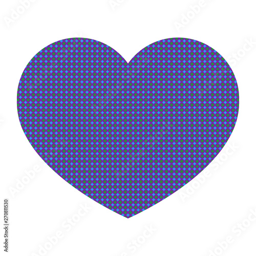 Heart from a color geometrical pattern  Small purple and green