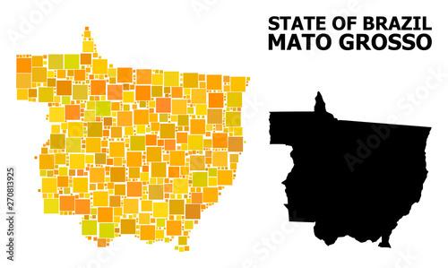 Fotografija  Gold Square Pattern Map of Mato Grosso State