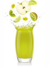 Mixed Green Fruit Falling Into A Splashing Juice Glass Isolated On White