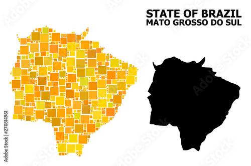 Fotografija  Gold Square Pattern Map of Mato Grosso Do Sul State
