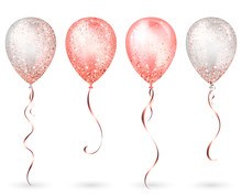 Flying Glossy White And Pink Shiny Realistic 3D Helium Balloons With Gold Ribbon And Glitter Sparkles, Perfect Decoration For Birthday Party Brochures, Invitation Card Or Baby Shower