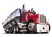 Cartoon Semi Tanker Truck Isol...