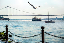 Muslim Architecture And Water Transport In Turkey - Beautiful View Touristic Landmarks From Sea Voyage On Bosphorus. Cityscape Of Istanbul At Sunset - Old Mosque And Turkish Steamboats, View On Golden