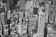 Black and white aerial view Manhattan, New York City, USA.