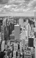 Panel Szklany Nowy York Black and white aerial view Manhattan, New York.