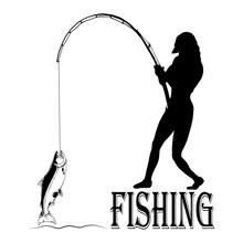 Clip Art Black Fishing On White Background - Vector