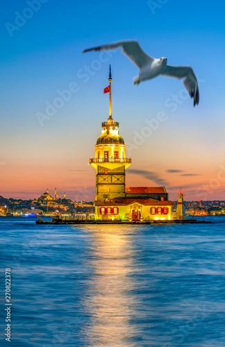 Photo  Maiden's Tower in istanbul, Turkey (KIZ KULESI - USKUDAR)