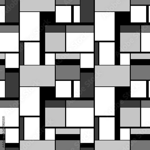 Photo  Grayscale painting in Piet Mondrian's style, seamless pattern