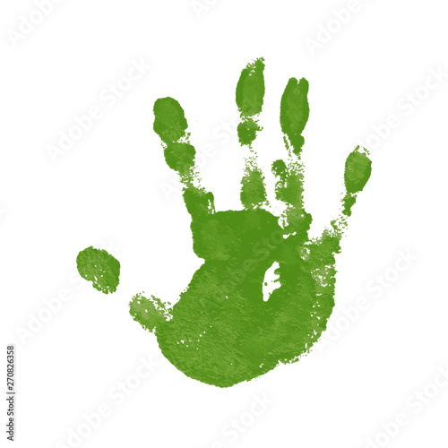 Fototapety, obrazy: Hand paint print, isolated white background. Green human palm and fingers. Abstract art design, symbol identity people. Silhouette child, kid, people handprint. Grunge texture. Vector illustration