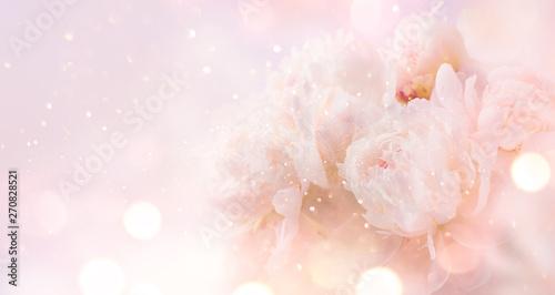 Beautiful pink peony bouquet art background Canvas Print