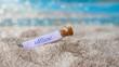 Leinwandbild Motiv Flaschenpost am Strand: offline