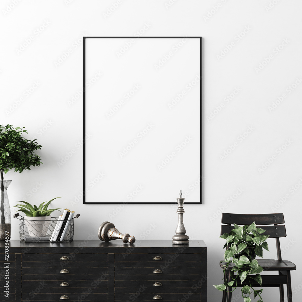 Fototapeta Poster, wall mockup in interior background with dark  furniture, industrial style, 3d render