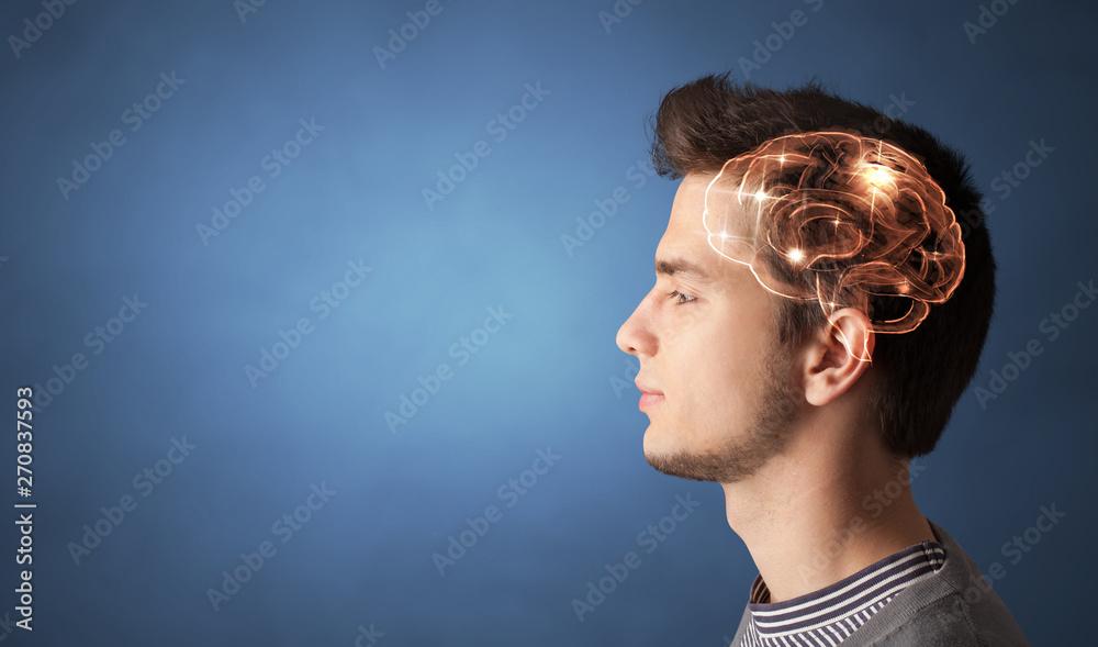Fototapeta Portrait with lighting brain and brainstorming concept