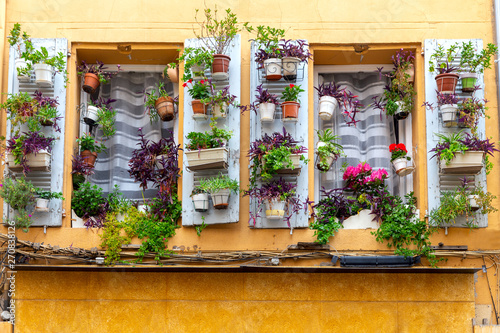 Aix-en-Provence. Window in the orange facade of the old house decorated with flowers. - 270838126