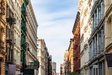 Historic Buildings On Greene Street In The SoHo Neighborhood Of Manhattan In New York City
