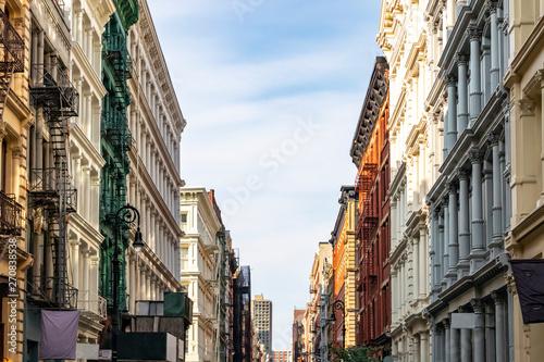 Fototapeta Historic buildings on Greene Street in the SoHo neighborhood of Manhattan in New York City obraz
