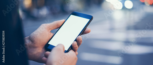 Cuadros en Lienzo Closeup image of male hand holding smartphone with blank screen