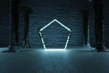 Leuchtender Sechseck Rahmen V...