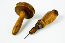 Vintage Rusty Awl With Wooden Grip And Darning Tool