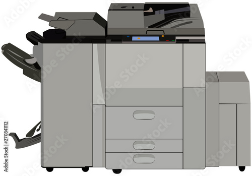 Fotografiet copiadora multifuncional impresora Ilustración vector doble carta aislada