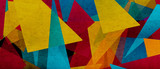 Fototapeta Abstract - illustration of triangles and angled shapes,  colorful abstract background with geometric elements, panoramic image