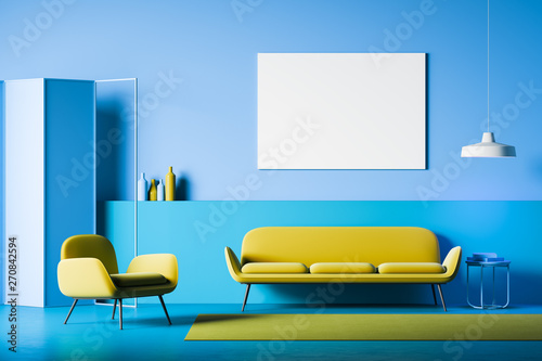 Blue living room interior with poster - 270842594