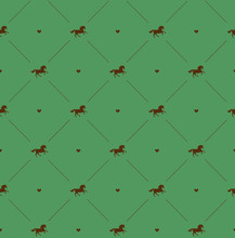 Vector Seamless Pattern Of Brown Horse Silhouette With Heart Isolated On Green Background
