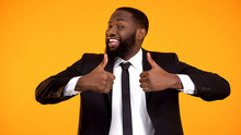 Happy Afro-american Businessman Making Double Thumbs-up Gesture, Recommendation