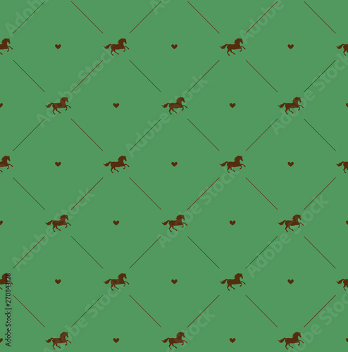 Fotografía Vector seamless pattern of brown horse silhouette with heart isolated on green b