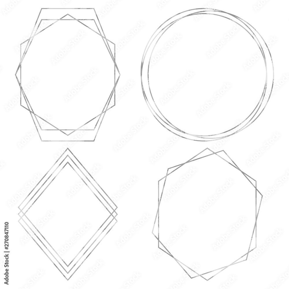 Fototapety, obrazy: Geometric Polygonal Frames - Set of 4 trendy frames with copy space