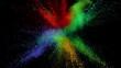 Colorful powder exploding on black background in super slow motion, shot with Phantom Flex 4K
