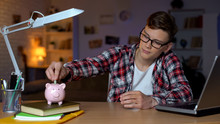 Teenager Putting Money To Piggyback, Freelancer, Work For Students, First Salary