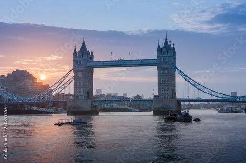 Tower Bridge in the sunrise time, London, England Canvas Print