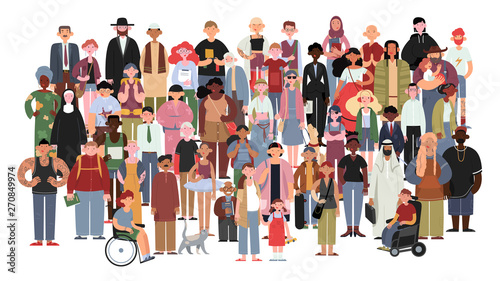 Socially diverse multicultural and multiracial people on an isolated white background. Happy old and young women and men with children, as well as people with disabilities standing together. Vector