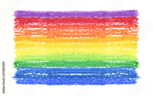 Oil pastel rainbow stroke texture on white background.