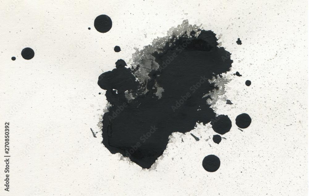 Fototapety, obrazy: Black ink blot. Isolated on white.